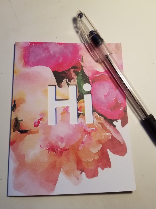 "Pastel pink and white floral card with the word ""Hi"" cut out.  Sent to me from a friend.  Card by Herd Swapp Stationery.  Photo:  Theresa Duncan"