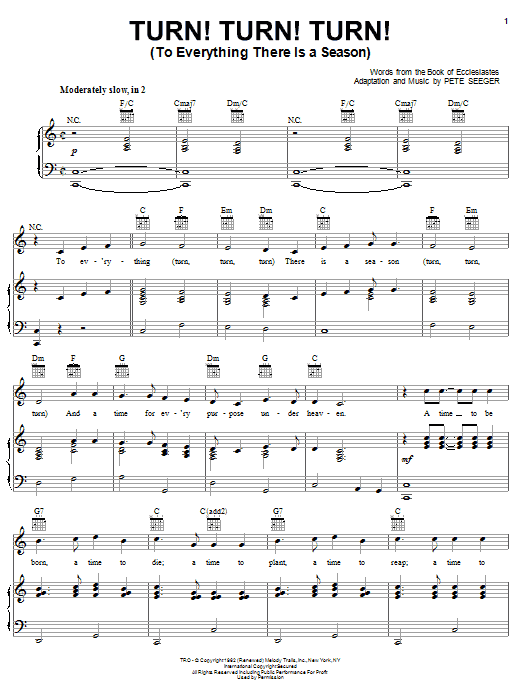 Sheet music for Turn! Turn! Turn! by The Byrds from sheetmusicdigital.com