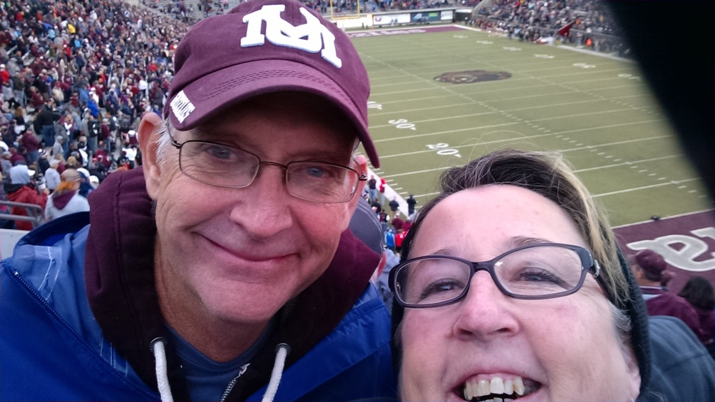 John and I at a University of Montana Grizzly football game; fall, 2016 - a favorite activity we did for years.